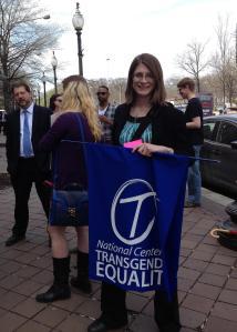 NCTE Policy Director Harper Jean Tobin Attends Rally